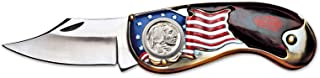 American Flag Coin Pocket Knife with Buffalo Nickel | 3-inch Stainless Steel Blade | Genuine United States Coin | Collectible | Certificate of Authenticity