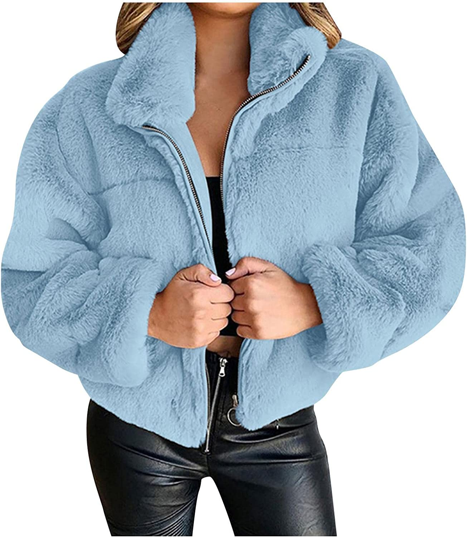 Smileyth Women's Faux Fur Jacket - Fashion Solid Color Long Sleeve Lapel Zipper Cardigan Plush Casual Coat
