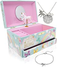 The Memory Building Company Unicorn Music Box & Little Girls Jewelry Set - 3 Unicorn Gifts for Girls