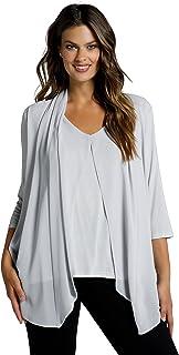 Ulla Popken Damen große Größen Übergrößen Plus Size Shirt, doppellagig, Chiffon, V-Ausschnitt, 3/4-Arm 800815