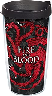 Tervis 1242894 HBO Game of Thrones - House Targaryen Insulated Travel Tumbler with Wrap & Lid, 16 oz - Tritan, Clear