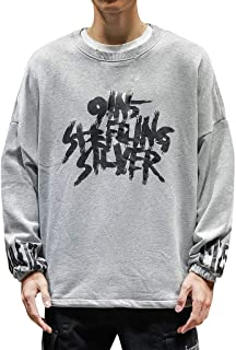 eipogp Letter Printed Crewneck Sweatshirt for Men, Casual Long Sleeve Lightweight Fleece Ribbed Cuffs Blouse Loose Hippie Tops