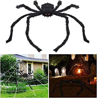 BESTOMZ Halloween Decorations Outdoor Giant Spider with LED Eyes Plush Toy Hairy Spider for Halloween Party Stretched Length 3.3 FT (Red Light)