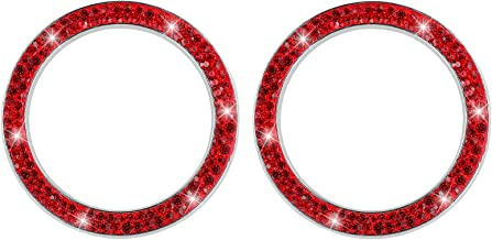 BESPORTBLE 2PCS Crystal Rhinestone Car Bling Decorations Ring Emblem Sticker Decor Car Engine Start Stop Button Bling Acce...