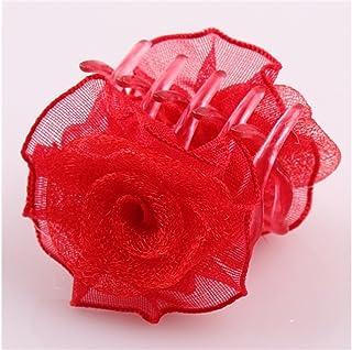 Osize 美しいスタイル プラスチックローズチャイルドキャッチャーヘアクローズスモールクロークリップアクセサリー(レッド)