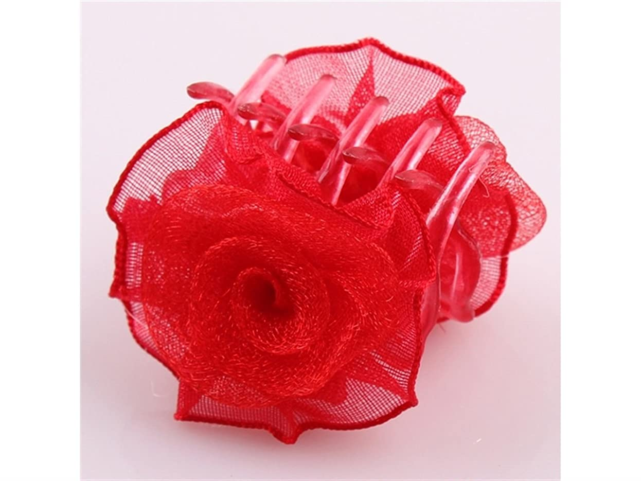 俳句一貫性のない施設Osize 美しいスタイル プラスチックローズチャイルドキャッチャーヘアクローズスモールクロークリップアクセサリー(レッド)