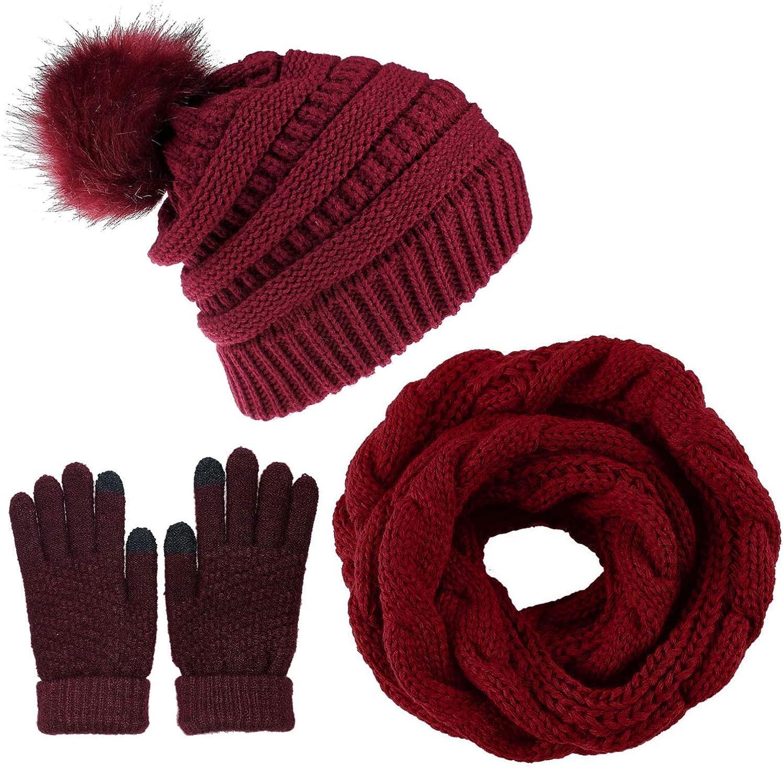 CheChury Gorro Bufanda de punto Guantes Mujer Moda Invierno Set de Bufanda y Gorro de Pompón Suave y Cálida Caliente Guantes de Pantalla Táctil Gorro de Invierno Regalo de Invierno para Mujer