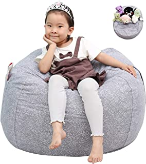 Great Eagle Stuffed Animal Storage Bean Bag Chair Cover|38x38 Inches Extra Large Cotton Canvas | Bean Bag Chair for Kids, Toddlers and Teens(Boys or Girls)|Toy Storage Bag|(Grey/Marblings)