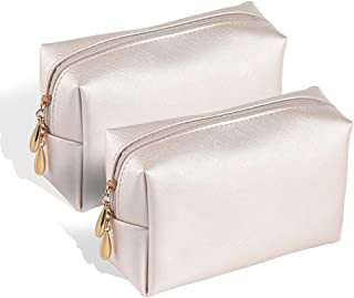 Etmury Cosmetics Bag Leather Makeup Case with Gold Zippered for Brushes Lipstick Perfume Make up Accessories Travel Organizer Holder(2 PACK)