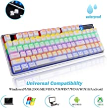 AcTopp Mechanical Keyboard Gaming Keyboards 92 Keys LED Backlight with Blue Switch for Windows & Mac Anti-ghosting Keys and Aluminum Frame White