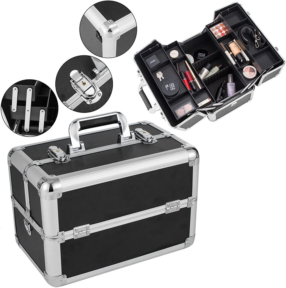 Super intense SALE DishyKooker Makeup Box Train Case Double-Open Large Sto online shop Cosmetic