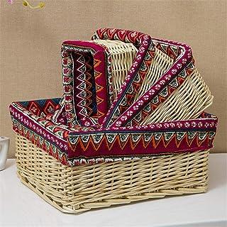 Panier de rangement Paniers organisation Ensemble de 4 paniers en osier imprimé à la main, stockage décoratif Stockage Bin...