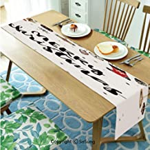 Christmas Table runner for Farmhouse Dining Coffee Table Decorative,Merry Xmas Quote with Modern Brush Lettering Creative Noel Phrase Inspirational Print 16