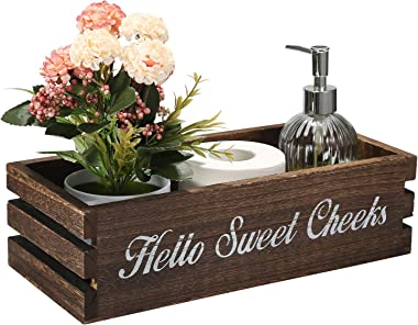 VOOWO Funny Bathroom Decor Box, Toilet Paper Holder, Toilet Paper Storage with Artificial Flower Ideal for Farmhouse Rustic B