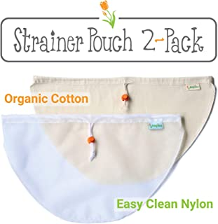 Kleynhuis Greek Yogurt Strainer Pouches (2-Pack), Organic Cotton + Ultra-Fine 100 Micron Nylon/Reusable Cheesecloth Alternative