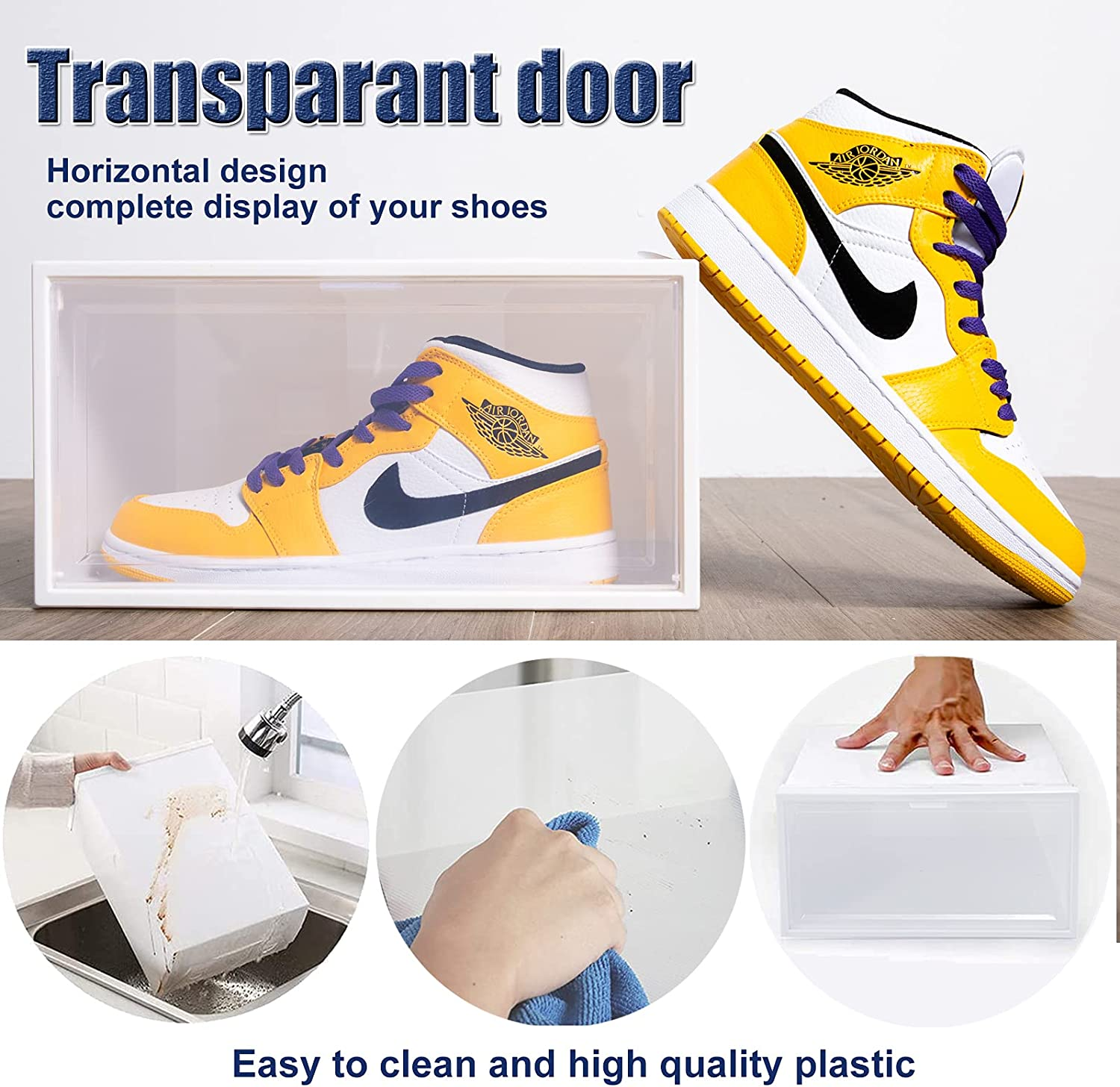20 Pack Shoe Storage Boxes, Clear Plastic Stackable Shoe Organizer Bins,  Drawer Type Front Opening Shoe Holder Containers,As Shoe Box Storage ...