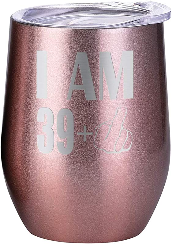 Funny Birthday Gift Tumbler I M 29 Plus Middle Finger 30th Bday Party Decor 12 Oz Stainless Steel Double Wall Vacuum Insulated Stemless Glass Turning 40 Rose Gold
