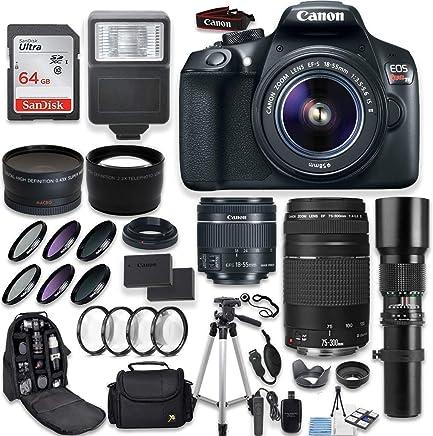 Canon EOS Rebel T6 - Cámara réflex digital (objetivo Telephoto Canon EF-S 0.709-2.165in, objetivo Telephoto Canon 2.953-11.811in y objetivo Telephoto de 19.685in, gran angular y objetivo Telephoto + kit de filtro Macro + memoria de 64 GB + kit de accesorios)