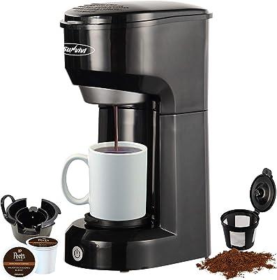 Cafetera de una sola porción K Cup para vainas y café molido, filtro permanente, depósito de 6 a 14 onzas, botón de control de un solo toque, color negro