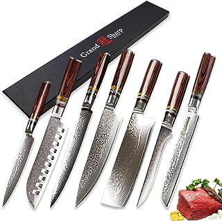 7 pcs Couteau de cuisine Ensemble VG10 Japonais Damas Steel Chef Santoku Utilitaire Nakiri Dessin Sancing Couteaux à pain ...