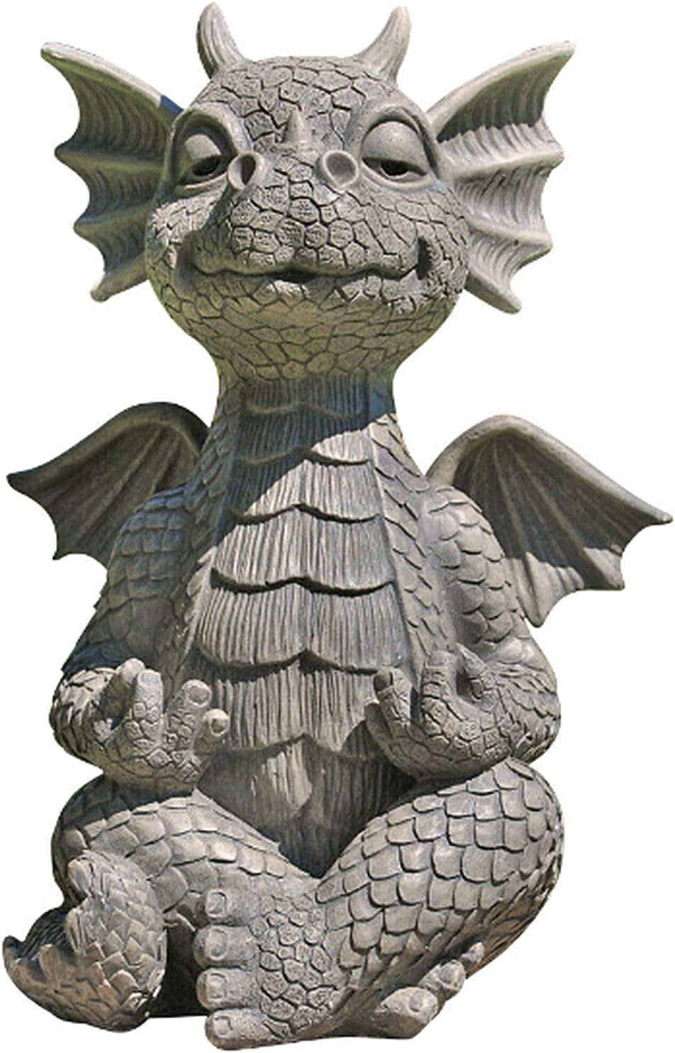 AKIIN Garden Dragon Statue, Funny Meditation Dragon and Figurines Holding Lamp Sleeping Zen Yoga Ornaments Outdoor Yard Outdoor Courtyard Resin Decoration Furnishings (Meditation)