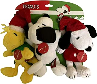 Peanuts Holiday Pet Toys 2 Snoopy and 1 Woodstock Plush Squeak Dog Toy 3 Piece Set, Great Stocking Stuffer for Small and Medium Pets