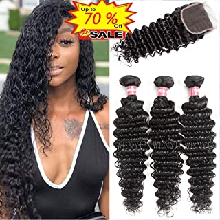 WENYU Brazilian Virgin Deep Wave Human Hair Weave 3 Bundles with 4 x 4 Lace Closure with Bundles Deep Wave Hair Extensions Natural Black(Deep Wave 20 22 24 W 18 Closure)