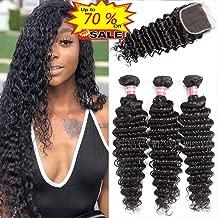 WENYU Brazilian Virgin Deep Wave Human Hair Weave 3 Bundles with 4 x 4 Lace Closure with Bundles Deep Wave Hair Extensions Natural Black(Deep Wave 18 20 22 W 16 Closure)