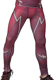 Red Plume Men's Compression Elastic Tight Leggings Sport Lightning Printing Pants
