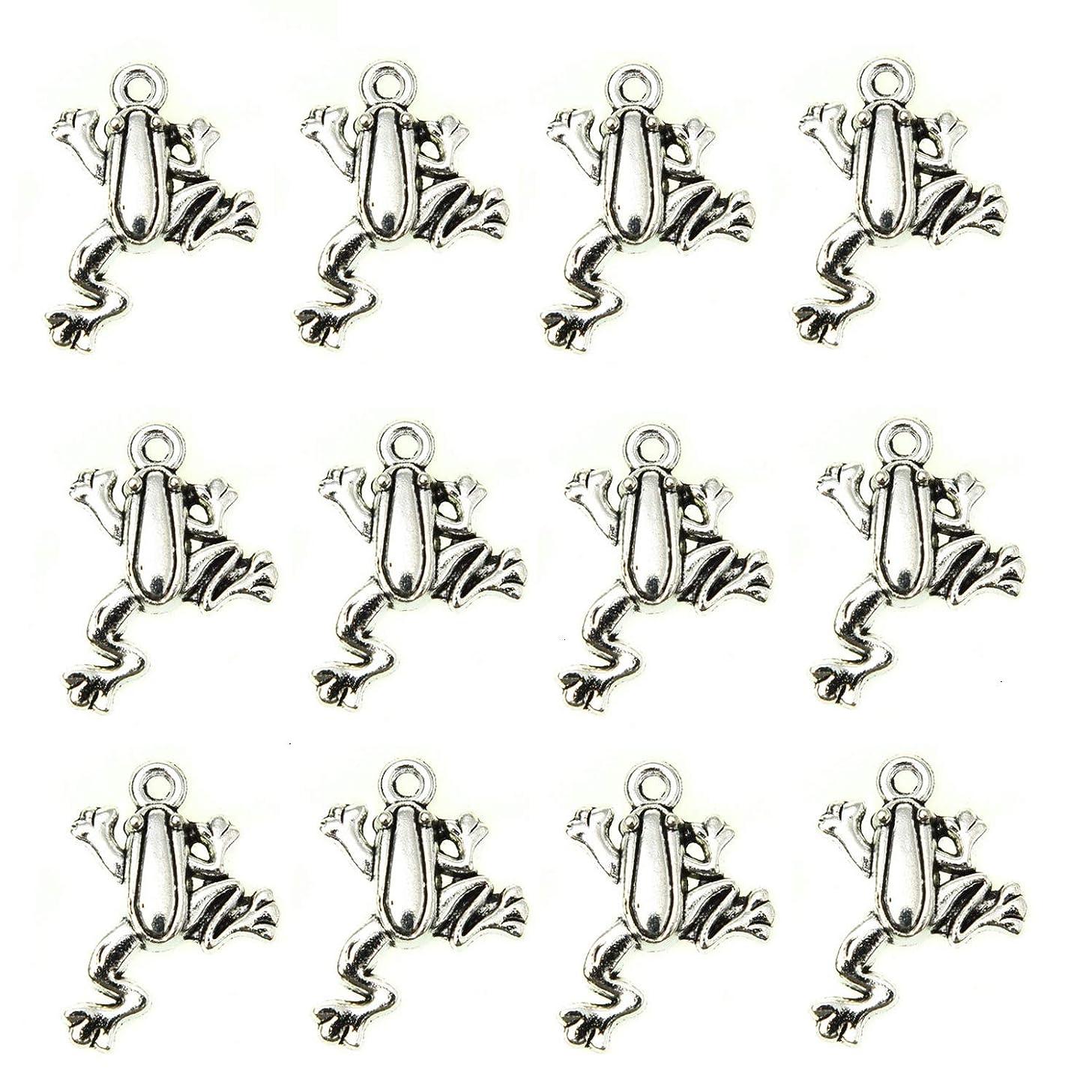 Monrocco 100 Pcs Antique Silver Frog Charms Pendant Bulk for Bracelets Jewelry Making