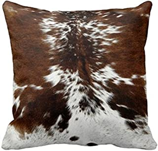 Leaveland Throw Pillowcase 16 x 16 Tri Color Brown Cowhide Print Throw Pillow Cover