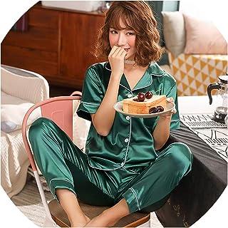 6cb410f5b Short Sleeve Silk Pajamas Spring Women Summer Pajama Sets Silk Sleepwear  Pyjamas Plus Size 3XL 4XL