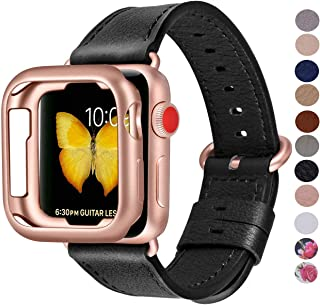 PEAK ZHANG Compatible with Apple Watch Band with Case, 38mm 40mm 42mm 44mm Women Men Top Grain Leather Strap for iWatch Series 5,4,3,2,1