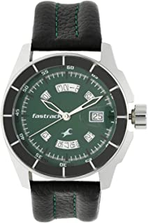 3089SL03 - Fastrack ANALG Men's, 50 meters Water Resistant, Green Dial, Black Leather Strap
