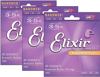 Elixir 11052 Nanoweb Acoustic Guitar Strings 3-Pack