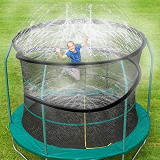 ARTBECK Trampoline Spray Water Park Fun Summer Outdoor Water Toys Trampoline Accessories, Trampoline Sprinklers Toy for Kids, Made to Attach On Trampoline Safety Net Enclosure (39 ft, Black)