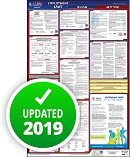 2019 New York Labor Law Poster, All-in-One OSHA Compliant NY State & Federal Laminated Poster (26