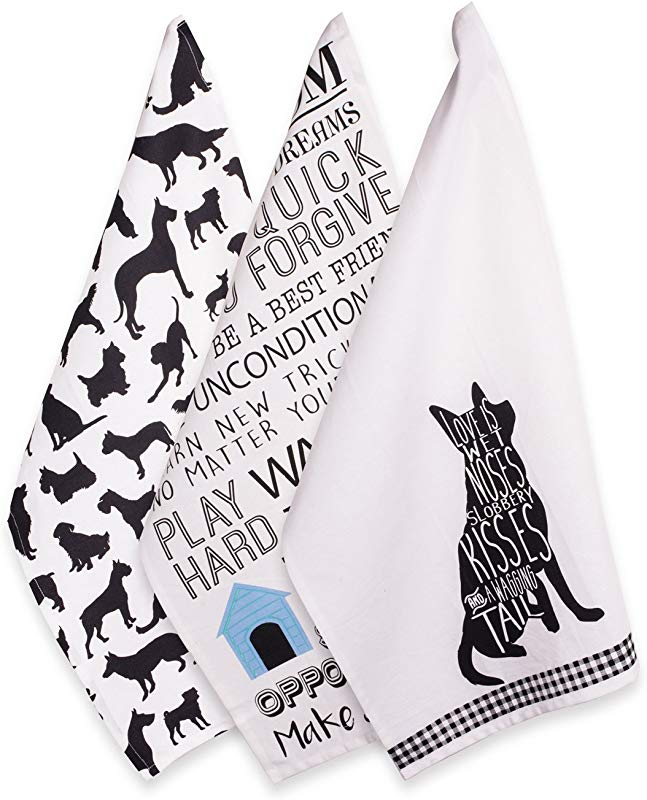 DII 100 Cotton Everyday Basic Home Kitchen Ultra Absorbent Drying Cleaning Pet Lover Printed Dish Towels 18 X 28 Set Of 3 Dog Dishtowel 3