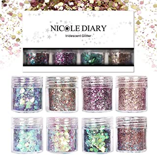 NICOLE DIARY 8 Boxes Chunky Glitter Nail Sequins Iridescent Flakes Ultra-thin Tips Colorful Mixed Paillette Festival Glitter Halloween Christmas Cosmetic Face Hair Body Glitter Nail Art