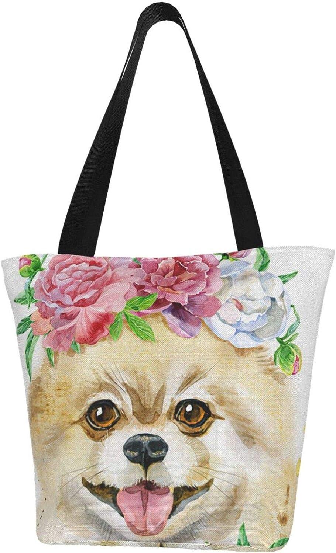 Rose Flower service Cartoon Pomeranian Spitz Dog Printed Reservation Themed Wom Cute