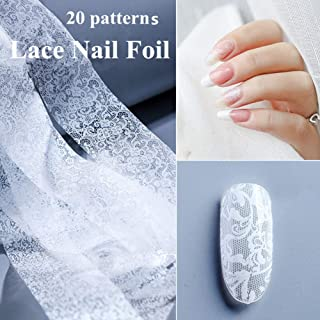 20 Sheets White Lace Nail Transfer Foil Transfer Stickers Nail Art Foil DIY Nail Art Decals Starry Sky Foil Stickers