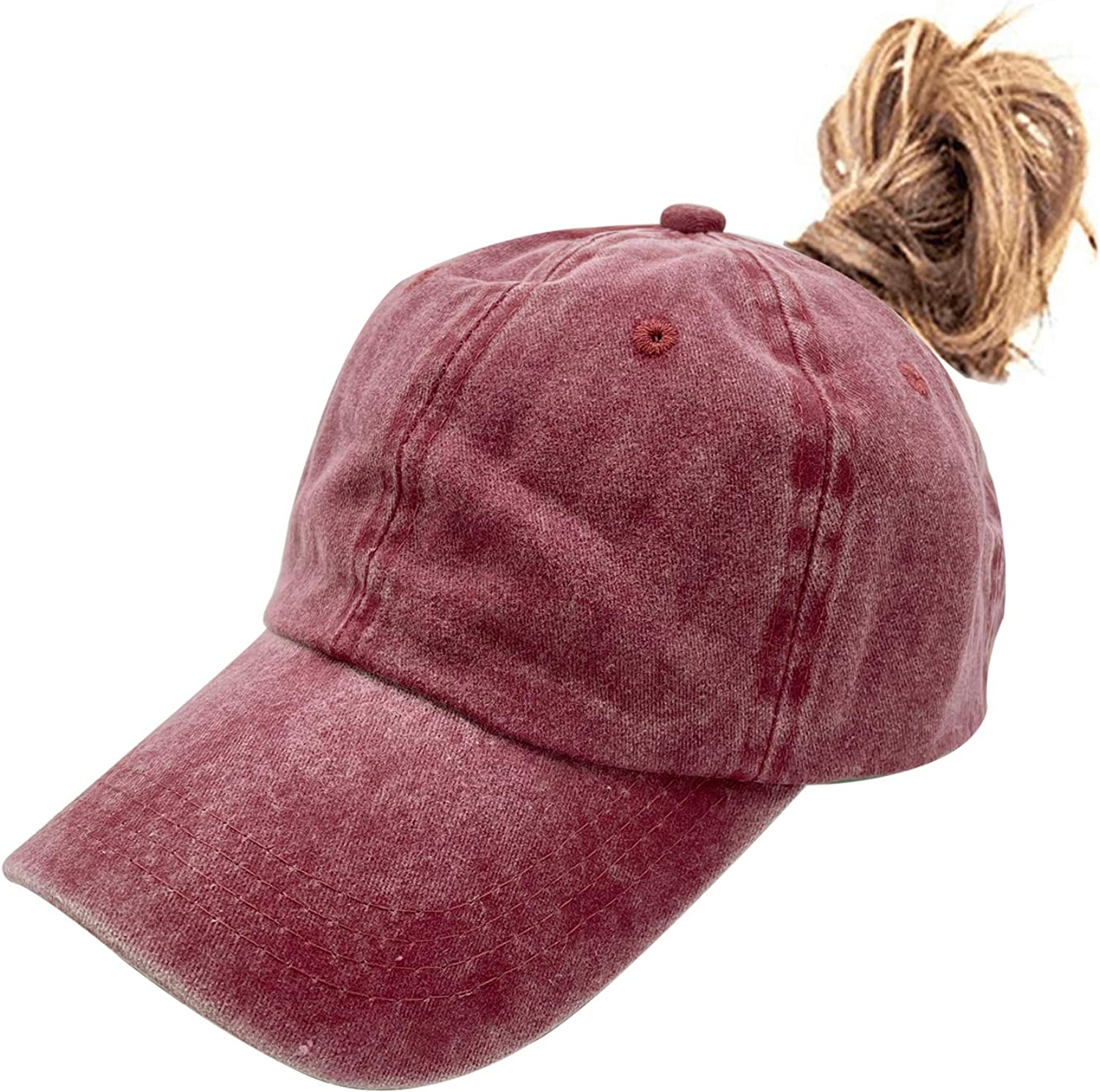 Waldeal Women's High Ponytail Max 75% OFF Hat Denver Mall Messy with Distressed Bun Hole