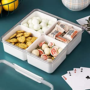 MineSign Refrigerator Organizer Bins Divided Food Storage Containers with Lids Plastic Snack Container with 4 Removable Boxes Stackable Lunch Box Fridge Produce Saver for Fruit Vegetable Meat