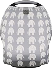 MoM-me Baby Car Seat Cover, Multi use for Nursing Scarf, Breastfeeding, Canopy, Stroller and Infant Pillow Wrap or Cover Ups. For Boys and Girls. Grey/White Elephant Design