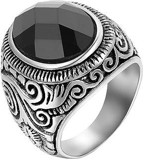 JewelryWe Anello Uomo Acciaio Inossidabile Fidanzamento Promessa Matrimonio Colore Argento Nero,Misura Scelta