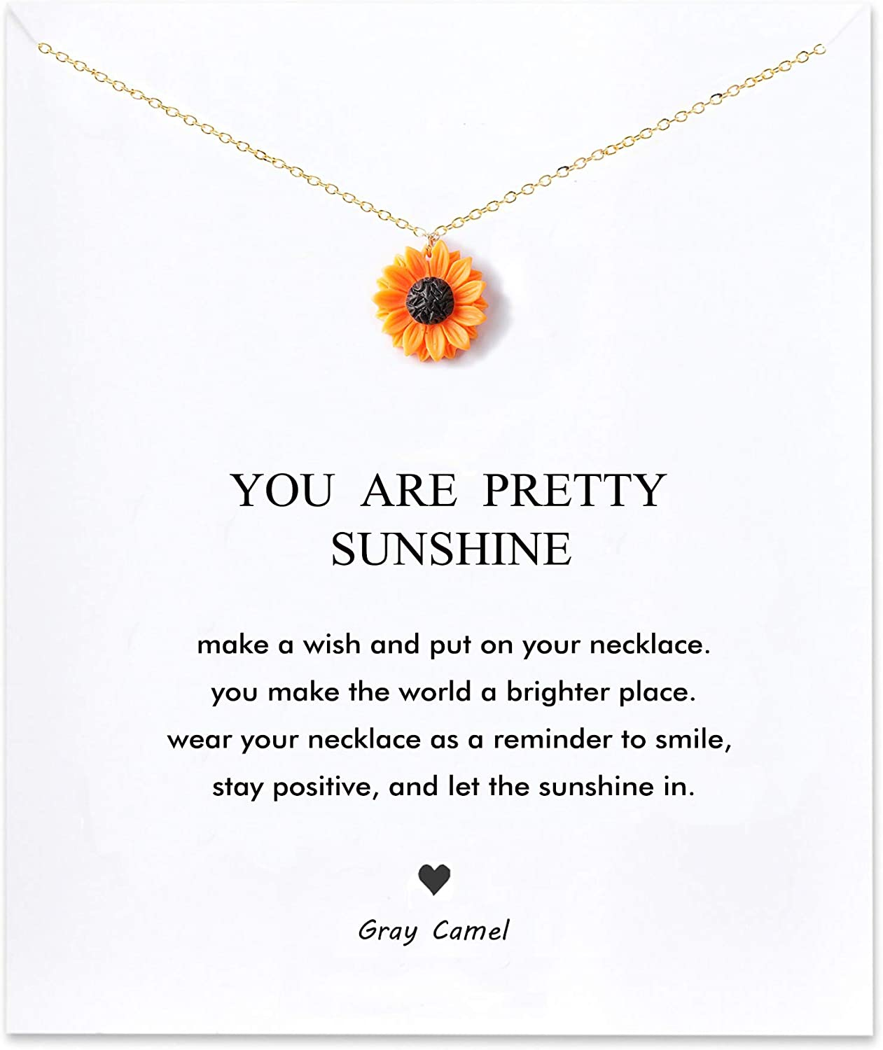 Gray Camel Sunflower Necklace You Are My Sunshine Carving Necklace for Woman Girl Card necklace Gift Necklace
