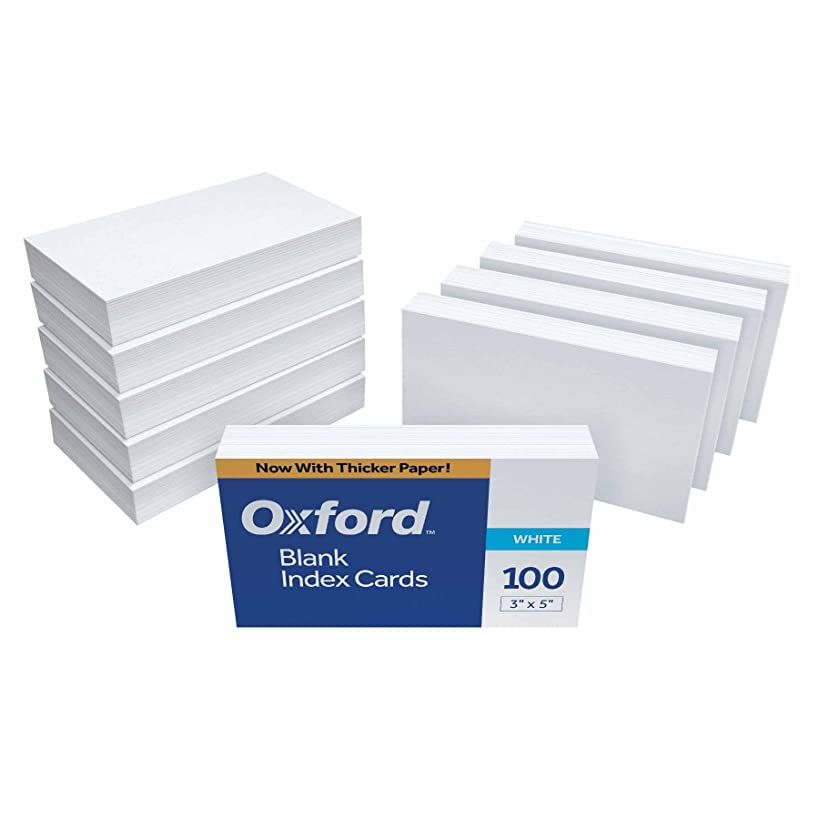 Oxford Blank Index Cards, 3 in x 5 in, White, 100 Cards per Pack