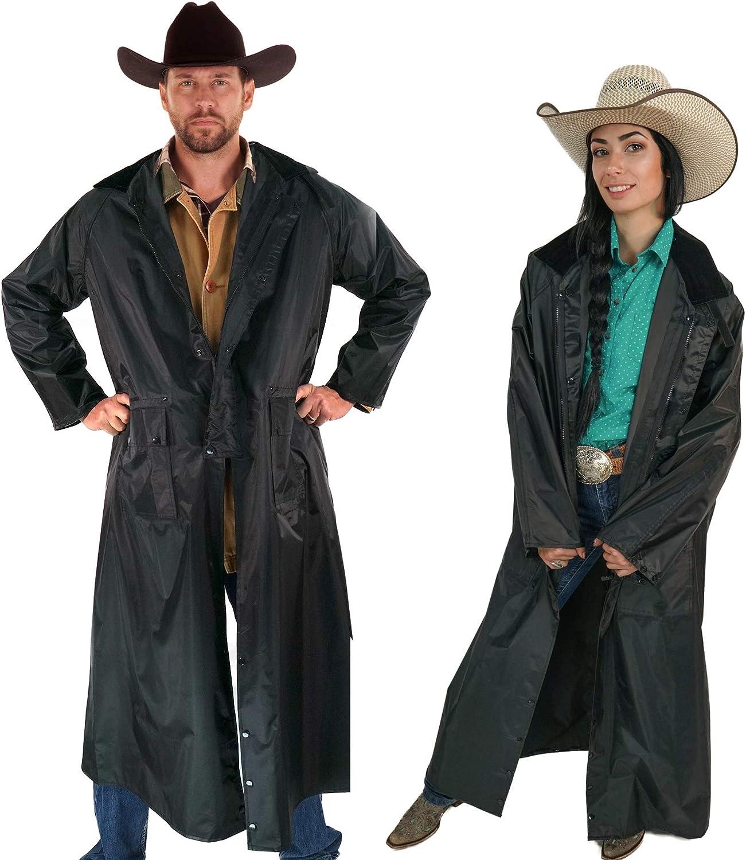 American Cowboy Saddle Slicker Rain Coat Duster – 100% Waterproof Full Length Unisex