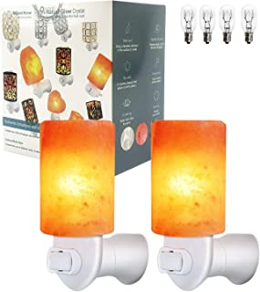2 Pack Cylinder Mini Himalayan Salt Lamps Wall Night Light Crystal Salt Lamp Natural Soft Night Lights for Living Dining Bed Room and Office