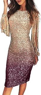 Womens Elegant Sequin Tassel Sleeve Bodycon Cocktail...